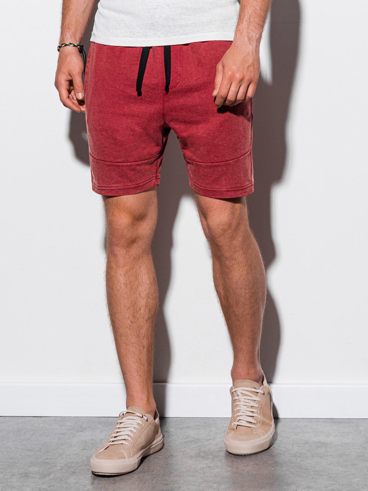 Levně Ombre Clothing Pánské teplákové kraťasy Sania červená W223