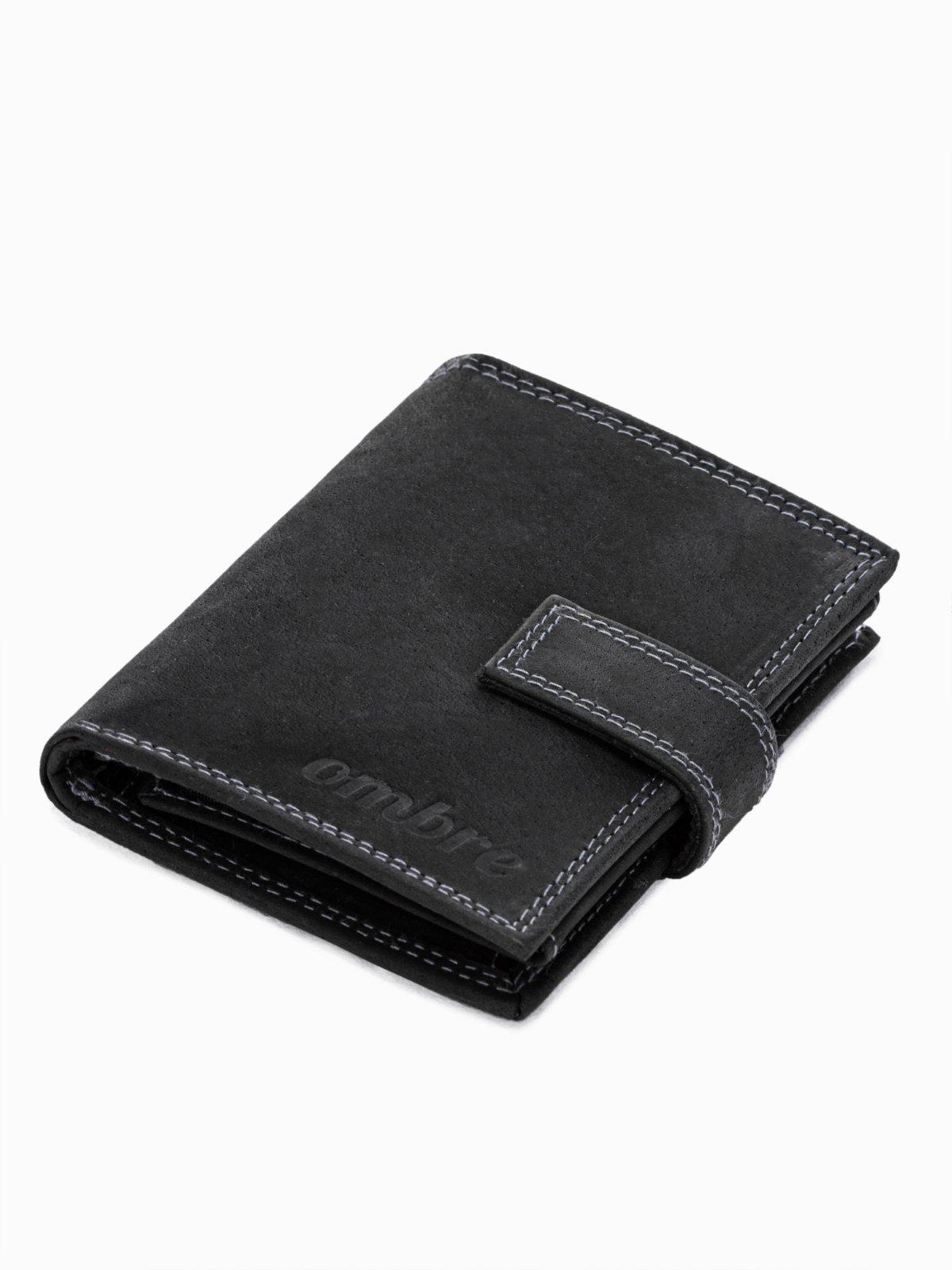 Levně Ombre Clothing Pánská kožená peněženka Christian černá A343