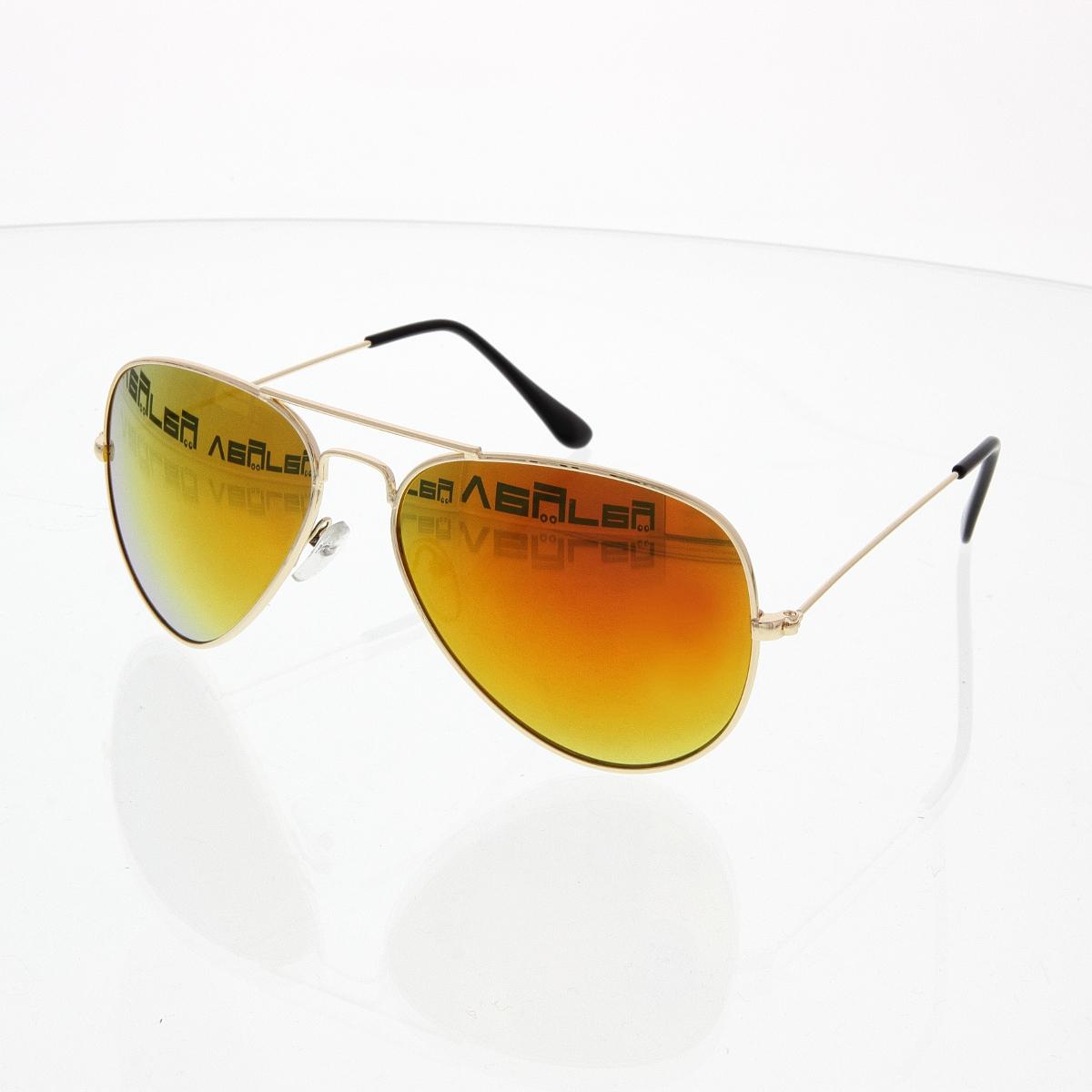 Sluneční brýle Pilotky zrcadlovky zlaté obroučky zlato-hnědé