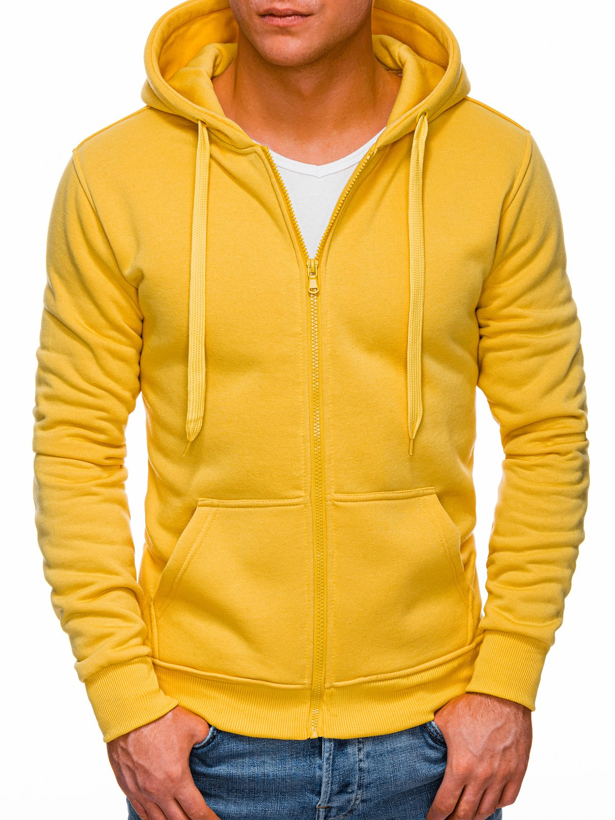 Levně Edoti Pánská mikina na zip Apollinaris tmavě žlutá B895