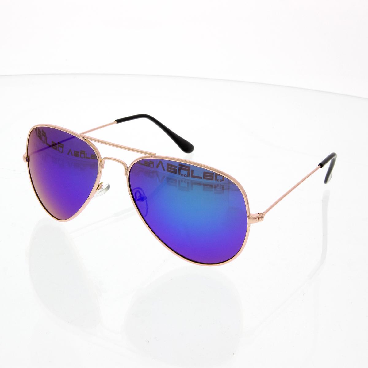Sluneční brýle Pilotky zrcadlovky zlaté obroučky modré