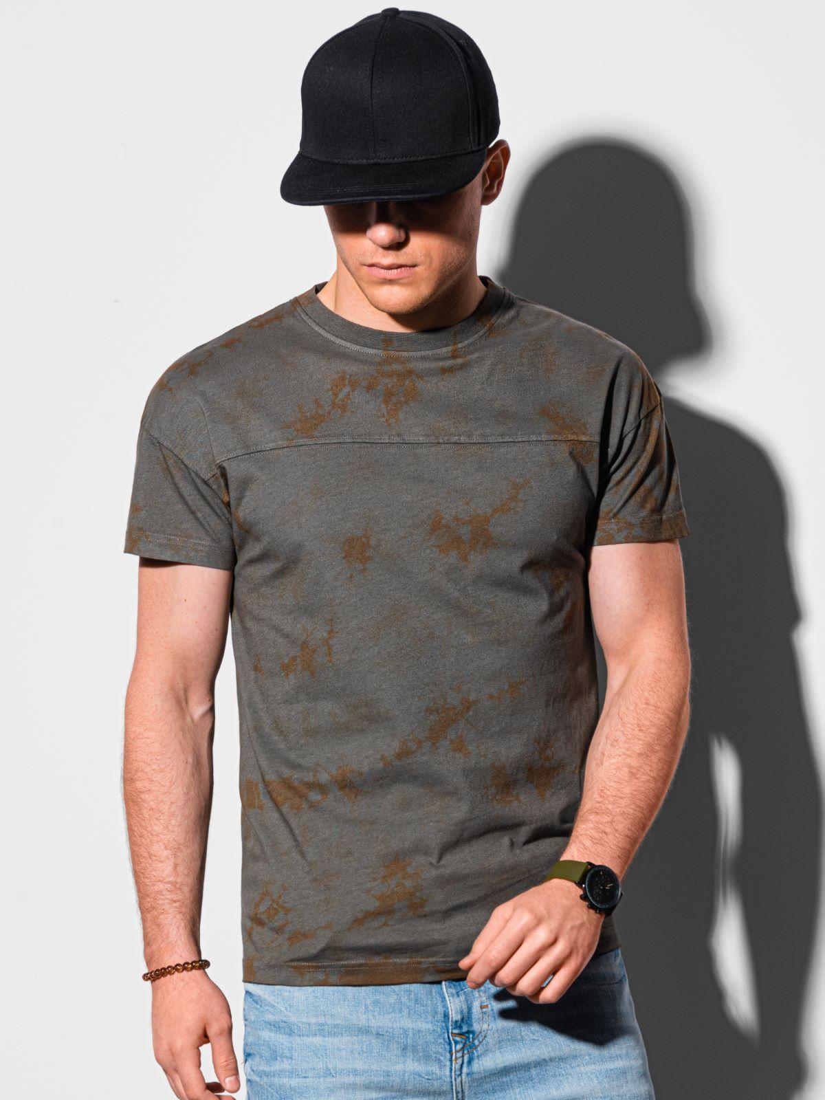 Levně Ombre Clothing Pánské basic tričko Margaret tmavě šedá S1372