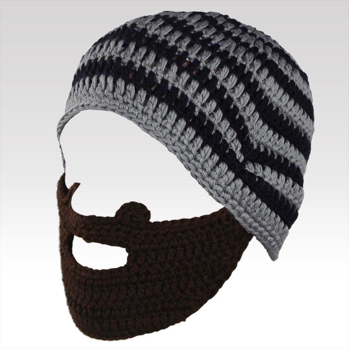 Pánská čepice s vousy šedo-černá