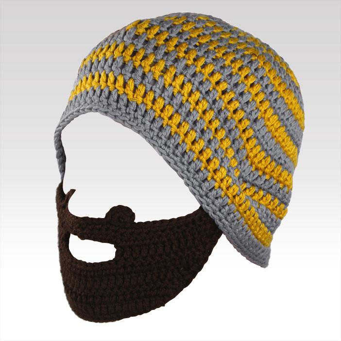 Pánská čepice s vousy šedo-žlutá