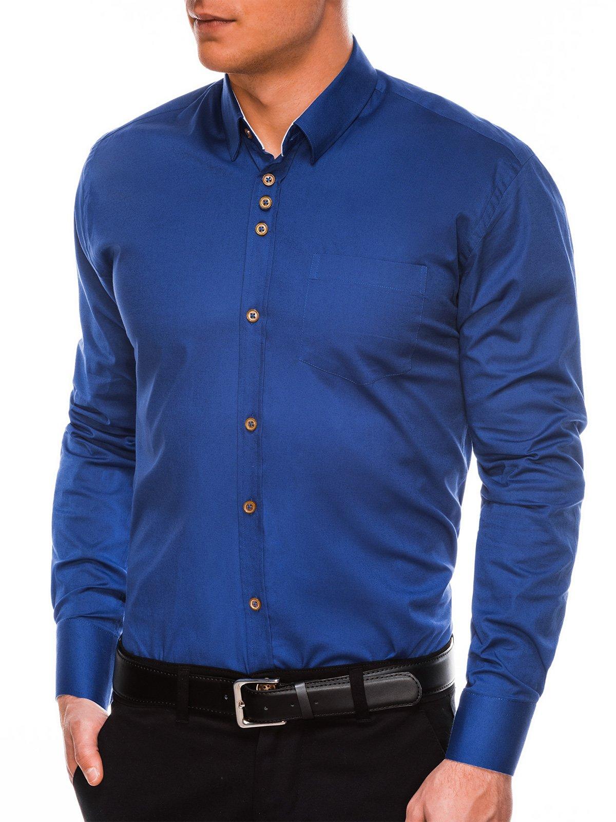 Levně Ombre Clothing Pánská elegantní košile s dlouhým rukávem Jude světle navy K302
