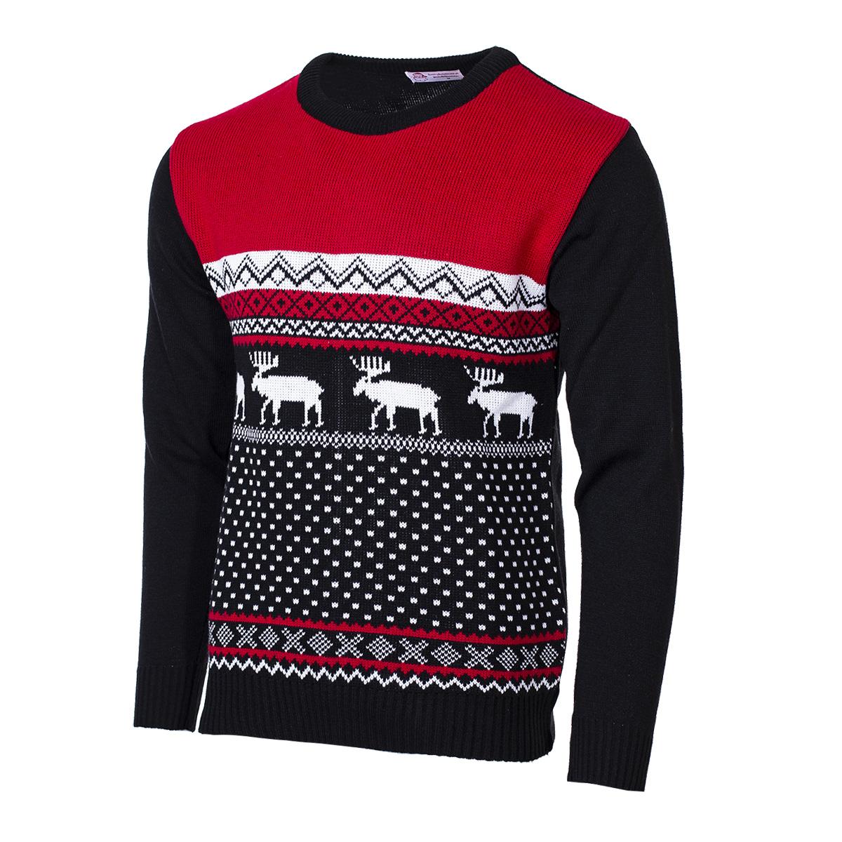 Pánský svetr se sobem Marching Reindeer červený S