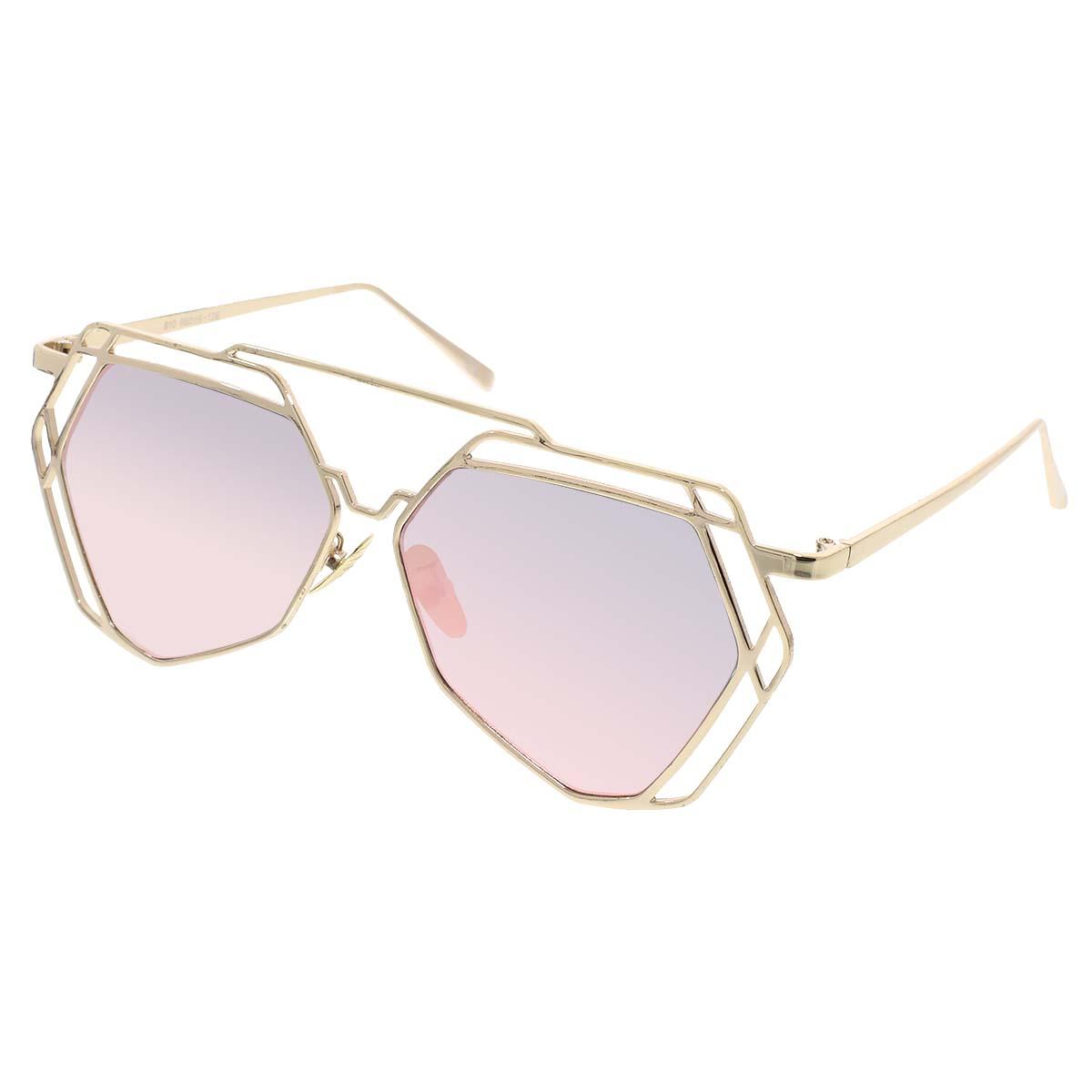 Sluneční brýle Border zlaté obroučky růžová skla
