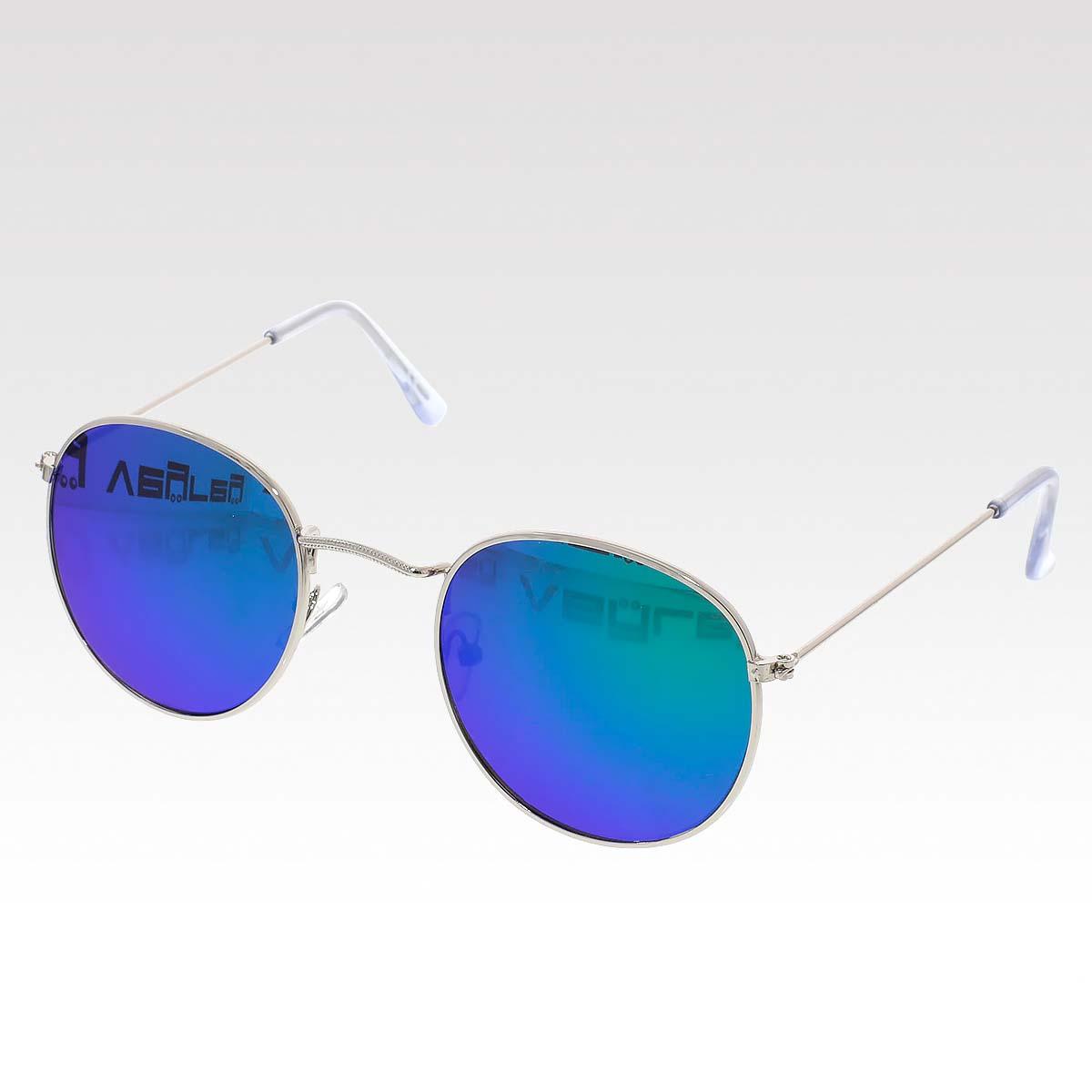 Sluneční brýle Oculos stříbrné obroučky zelená skla.