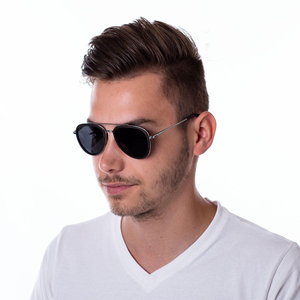 Wooden Polarised Sunglasses Haux Silver Frame