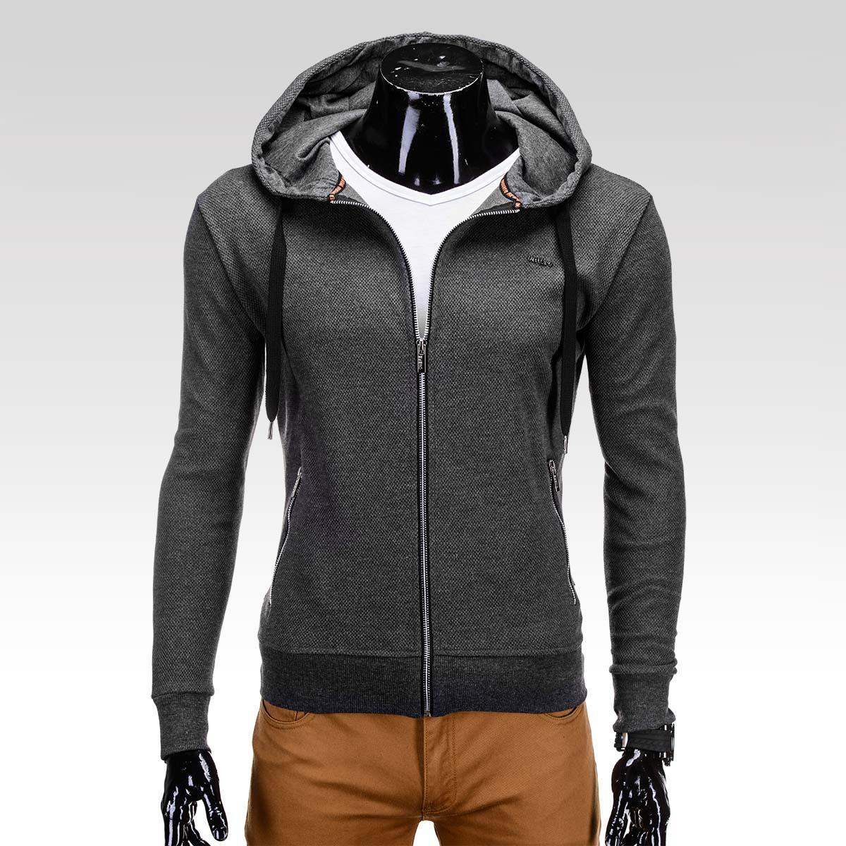 Sportovní trendy tmavě šedá pánská mikina Telfer s kapucí