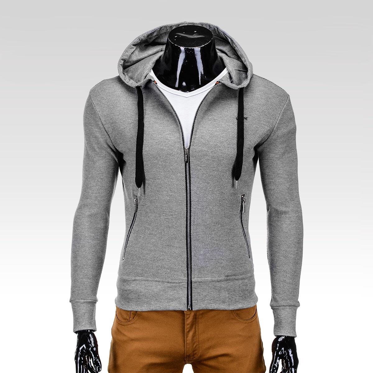 Sportovní trendy šedá pánská mikina Telfer s kapucí
