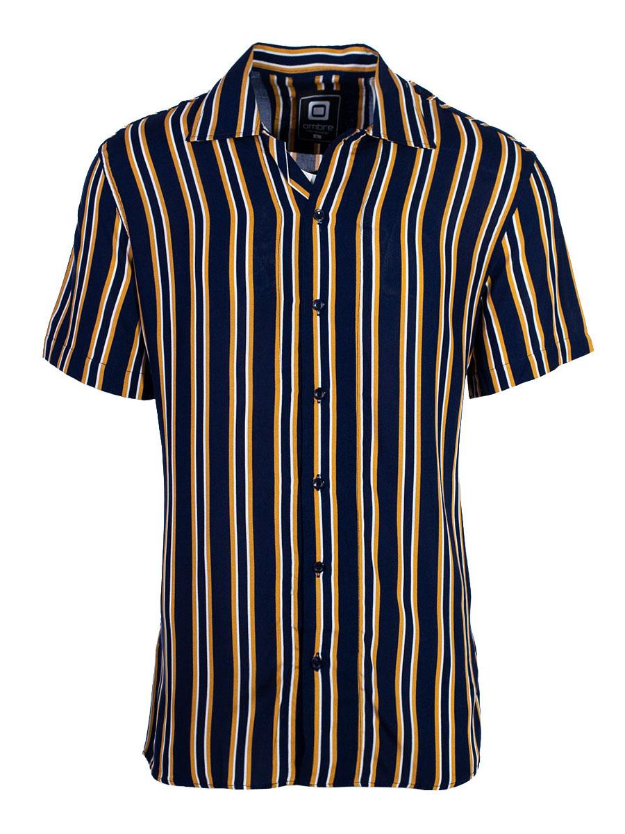 Men's Short-Sleve Shirt Yard Navy-Yellow S