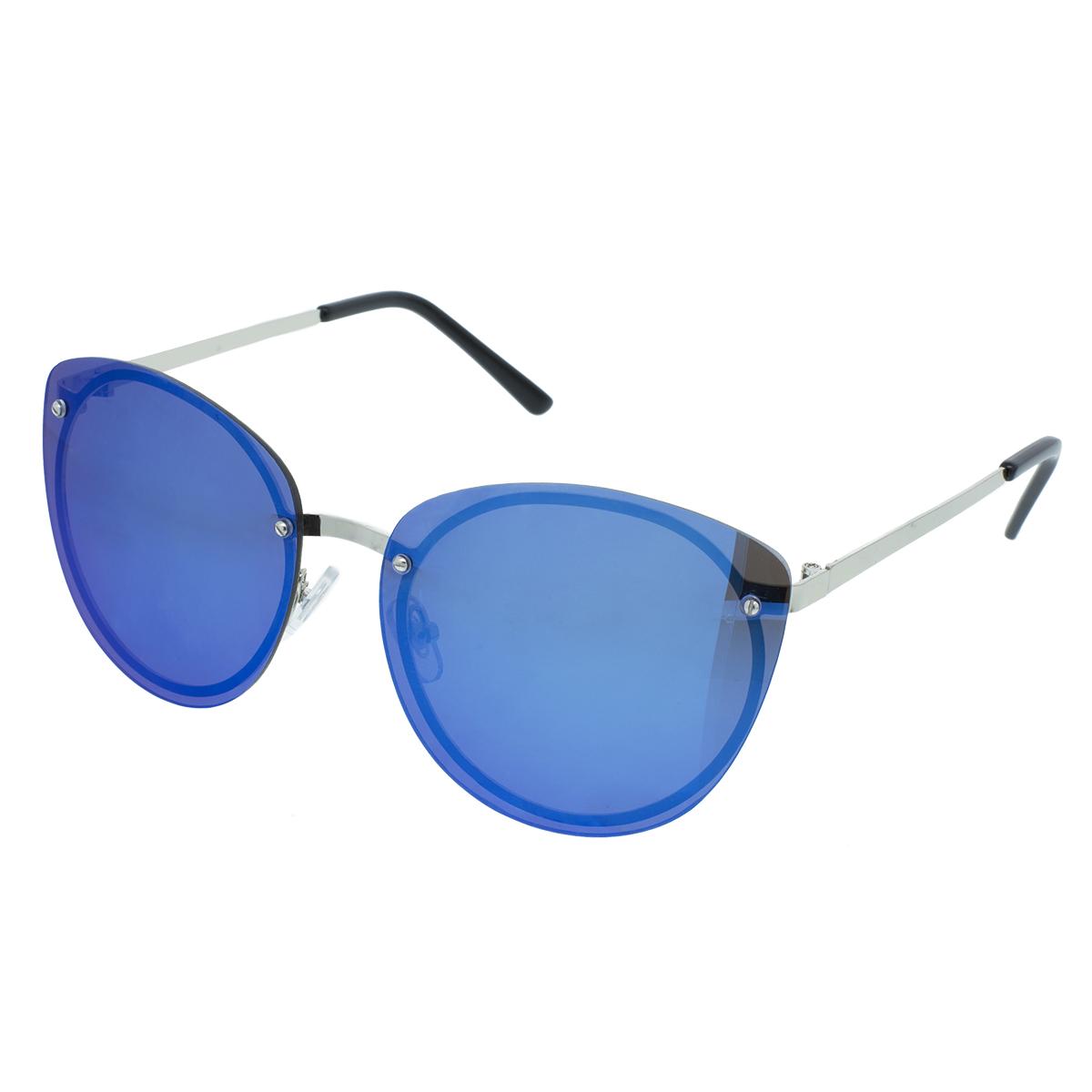 Velké sluneční brýle Plate stříbrné obroučky modrá skla