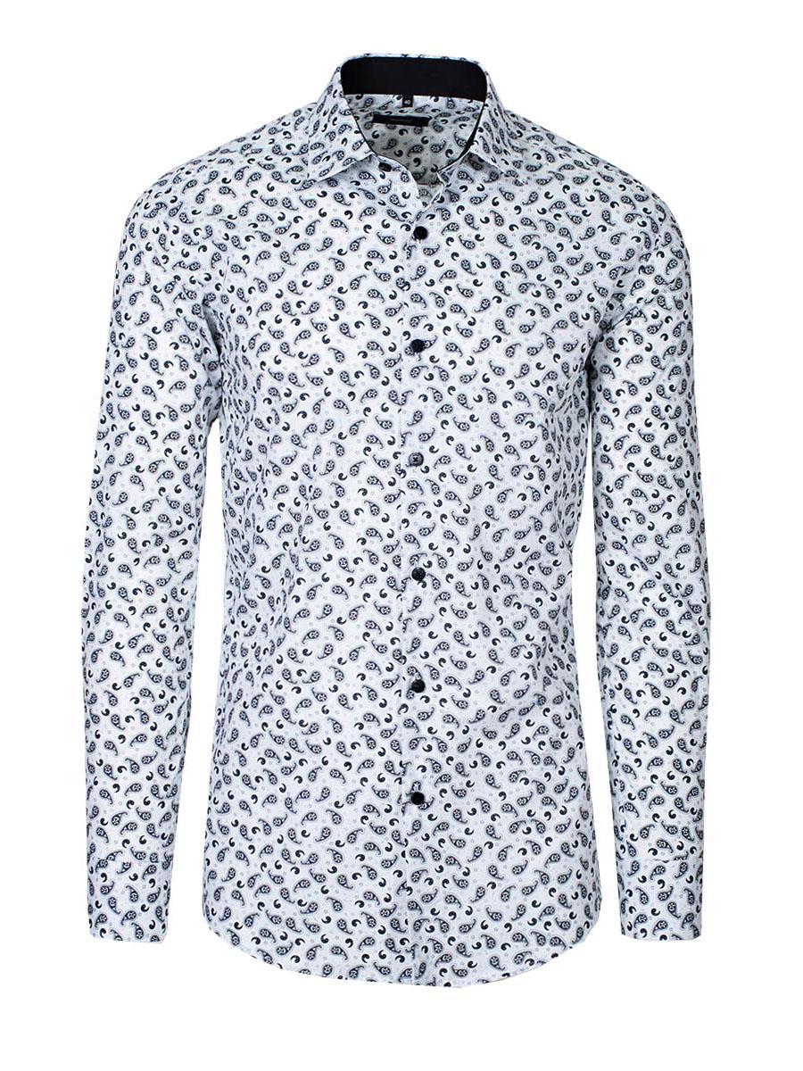 Levně MMER Pánská bavlněná košile Sailor bílá A038DSL