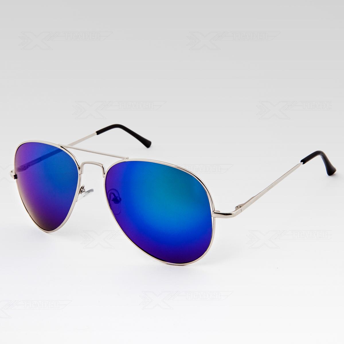 Sluneční brýle Pilotky zrcadlovky stříbrné obroučky modré