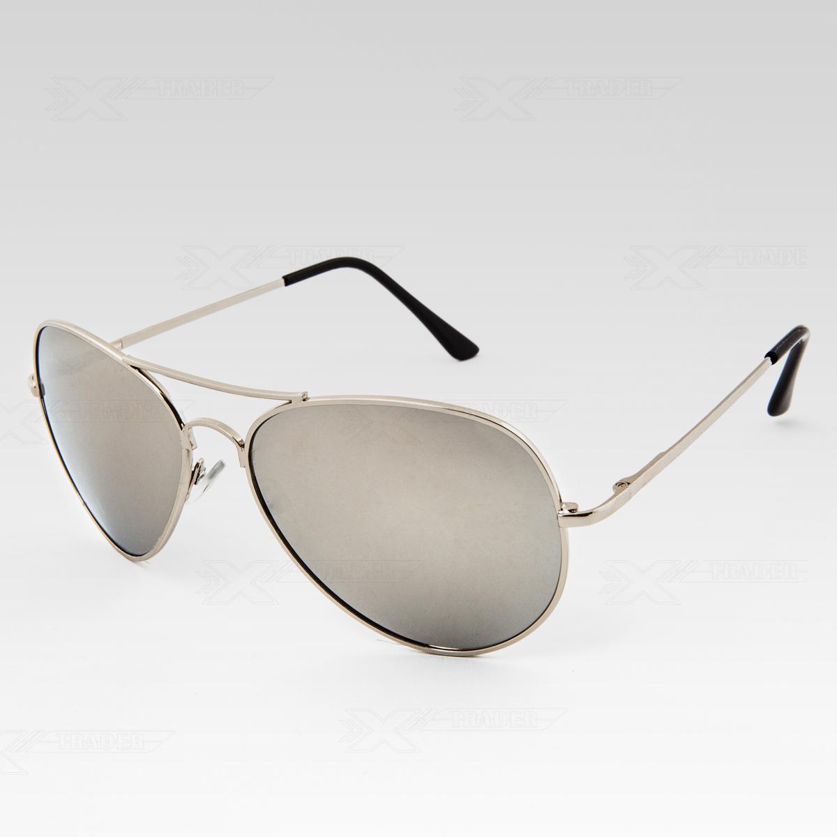 Sluneční brýle Pilotky zrcadlovky stříbrné obroučky stříbrné