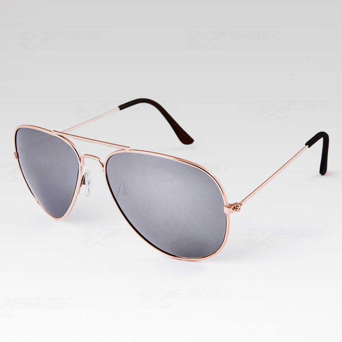 Sluneční brýle Pilotky zrcadlovky zlaté obroučky stříbrné