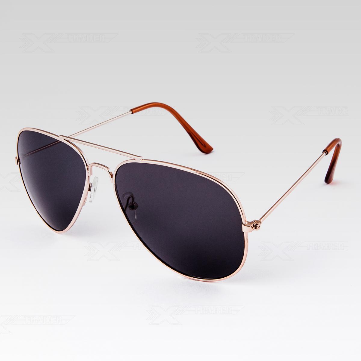 Sluneční brýle Pilotky zlaté obroučky černé