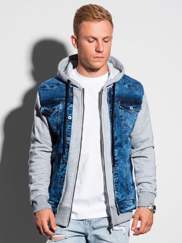 Ombre Clothing Pánská přechodová džínová bunda Brayden džínová-šedá
