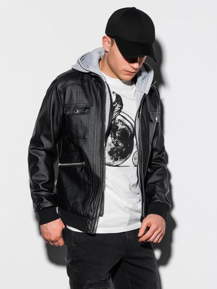 Ombre Clothing Pánská bunda s odnímatelnou kapucí Devon černá
