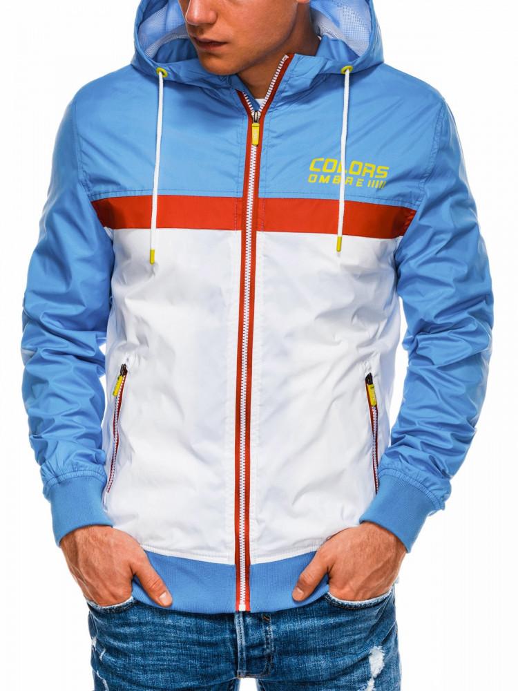 Ombre Clothing Pánská přechodová bunda Firenze modro-bílá