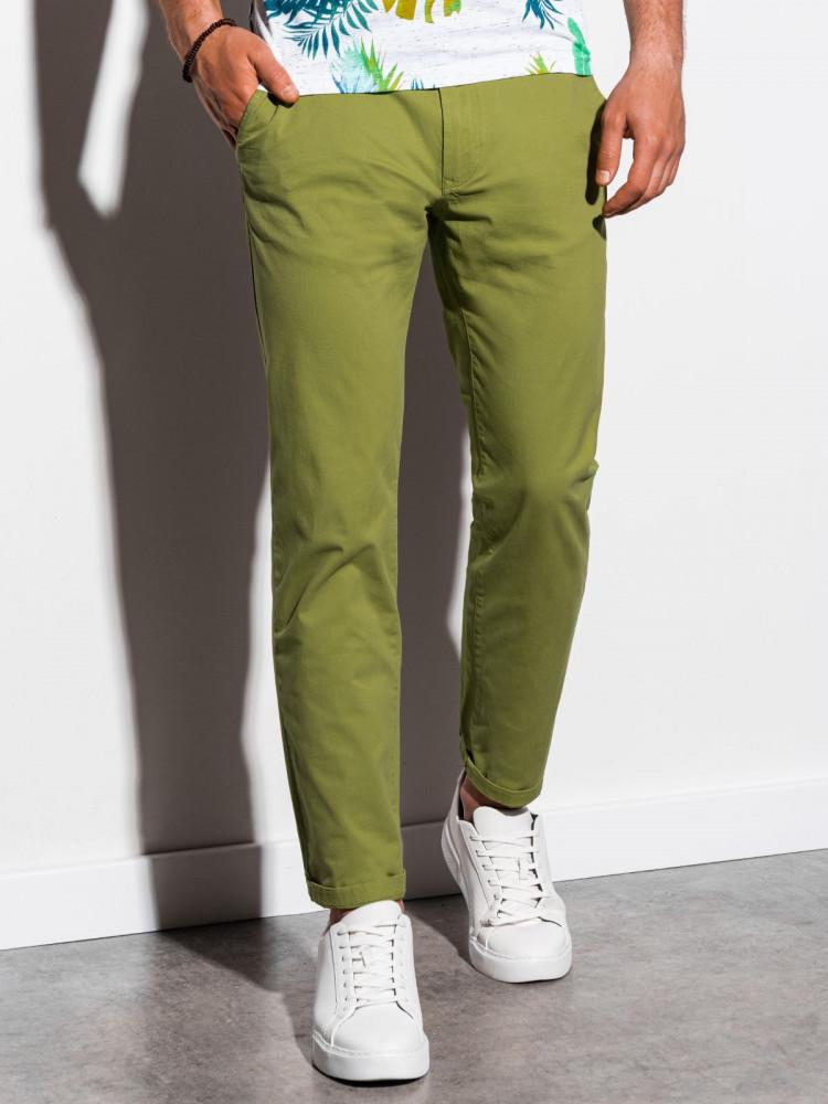 Ombre Clothing Pánské chinos kalhoty Ellis zelená