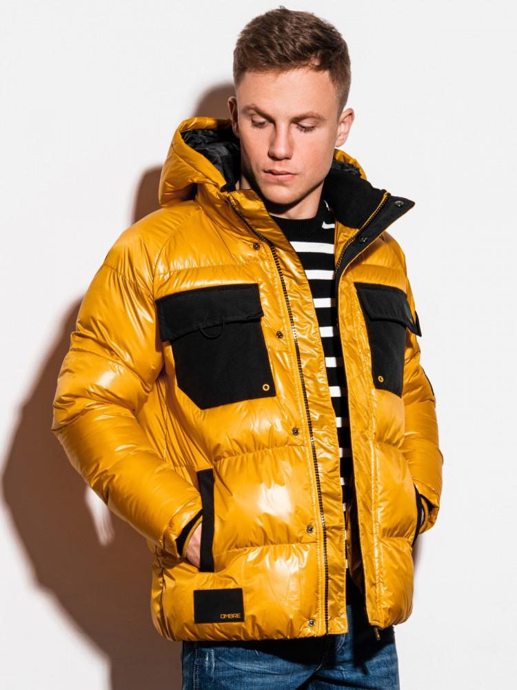 Ombre Clothing Pánská přechodová bunda Celestyn žlutá