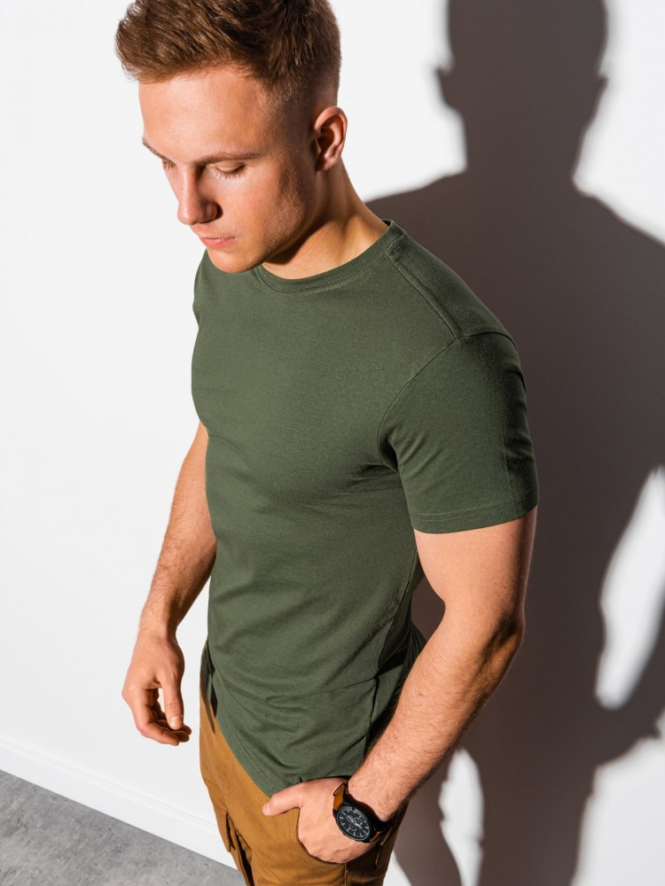 Ombre Clothing Pánské basic tričko Elis khaki