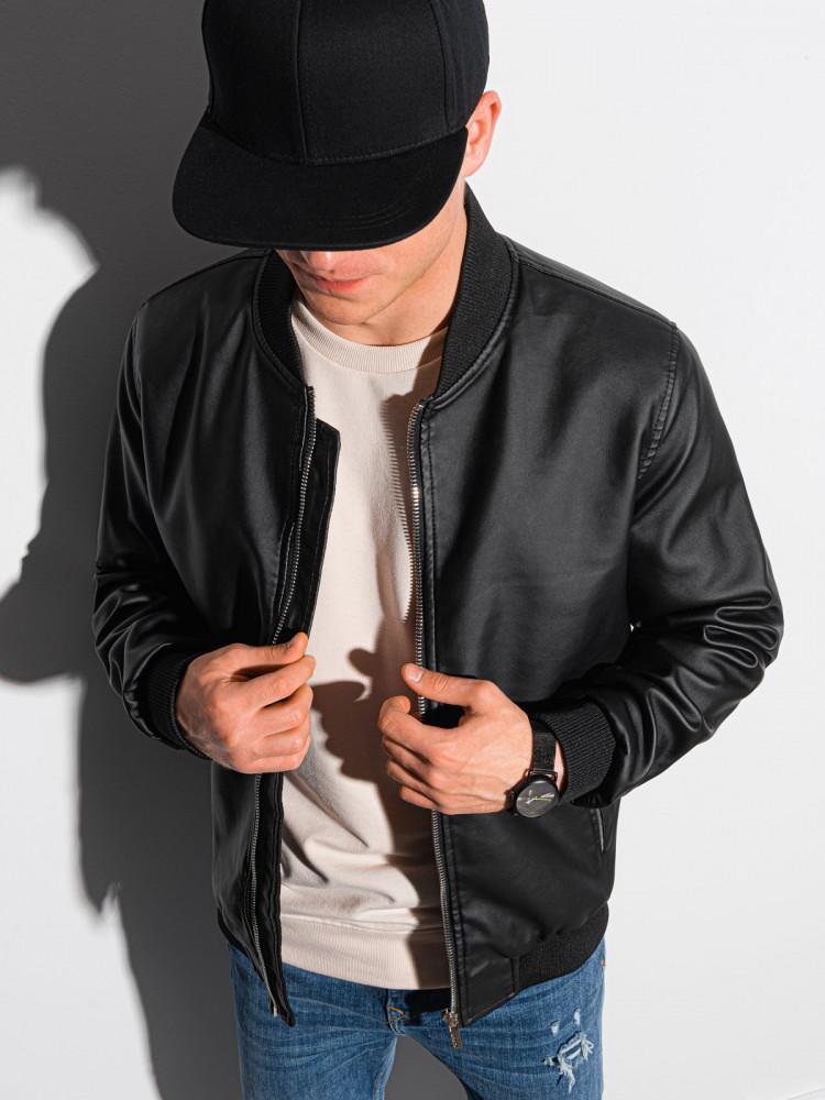 Ombre Clothing Pánská kožená bomber bunda Beda černá