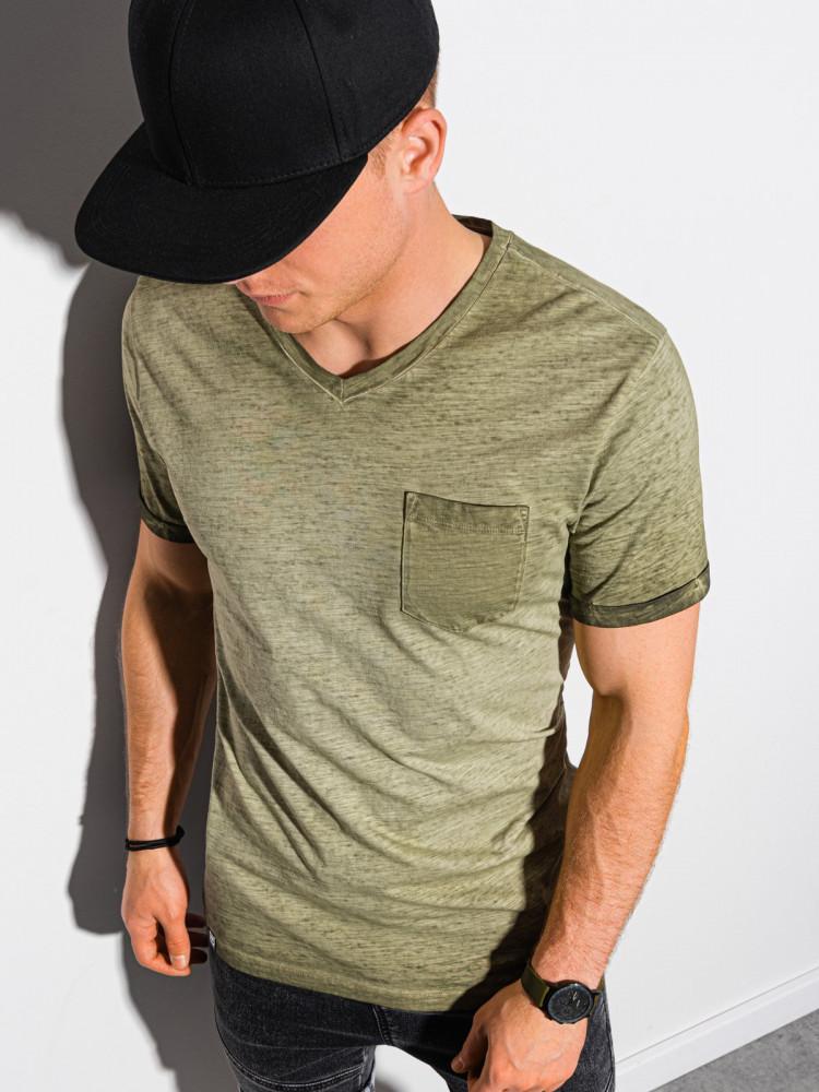 Ombre Clothing Pánské basic tričko Peterin olivová