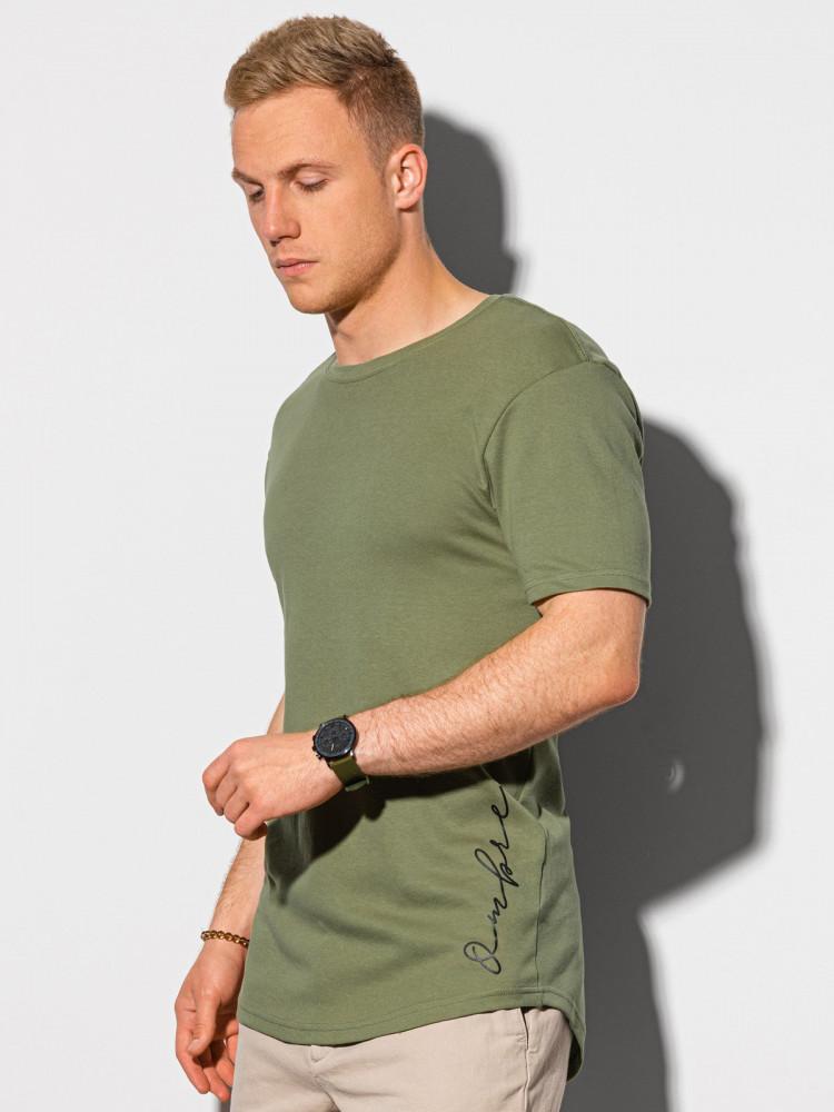 Ombre Clothing Pánské tričko s potiskem Gustav olivová