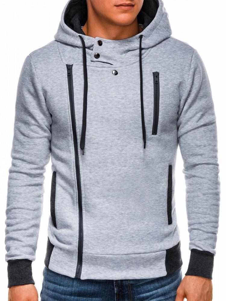 Ombre Clothing Pánská mikina na zip s kapucí Chandler šedá
