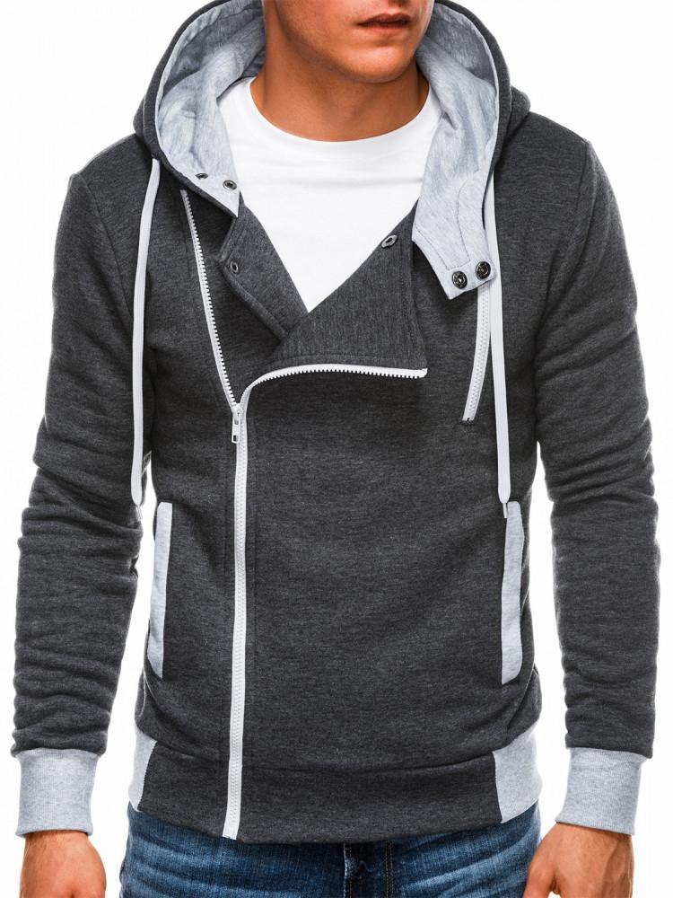 Ombre Clothing Pánská mikina na zip s kapucí Chandler tmavě šedá