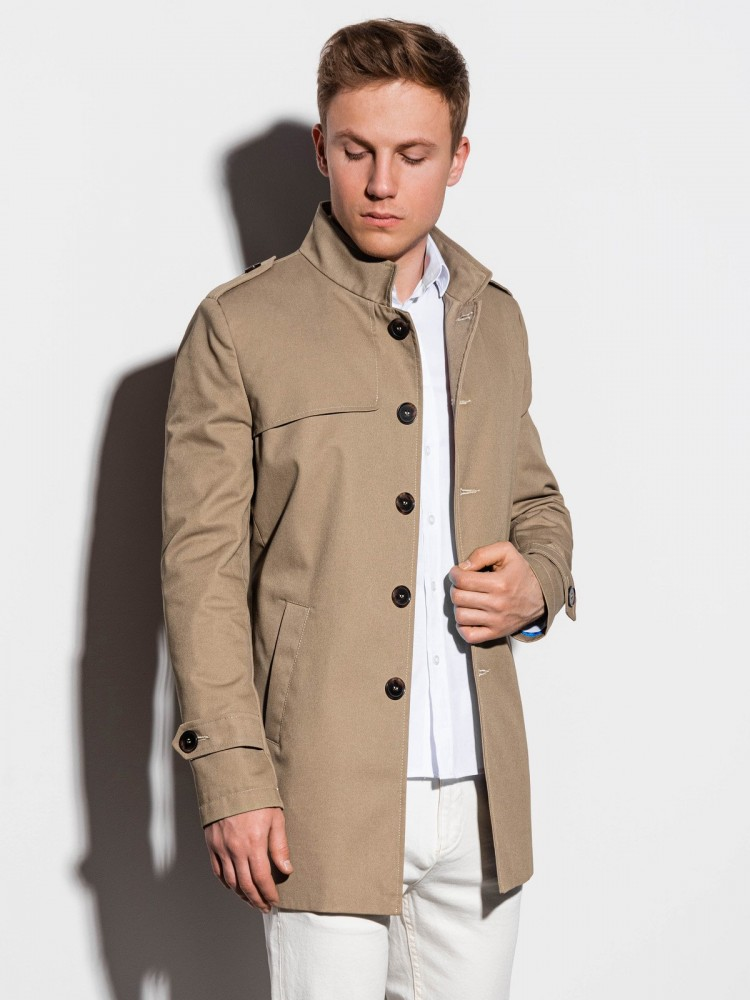 Ombre Clothing Pánský kabát Eliot béžový