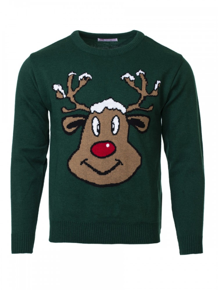 Vánoční svetr se sobem Reindeer tmavě zelený