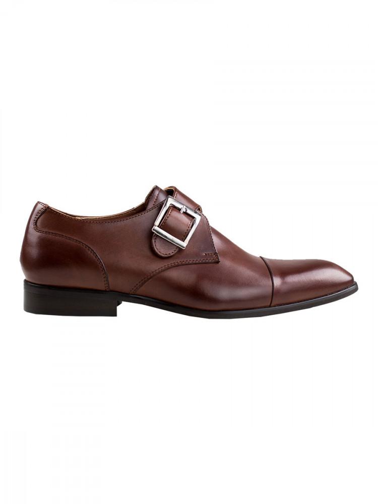 Pánské kožené monk shoes se sponou Theloni tmavě hnědé vel. 40