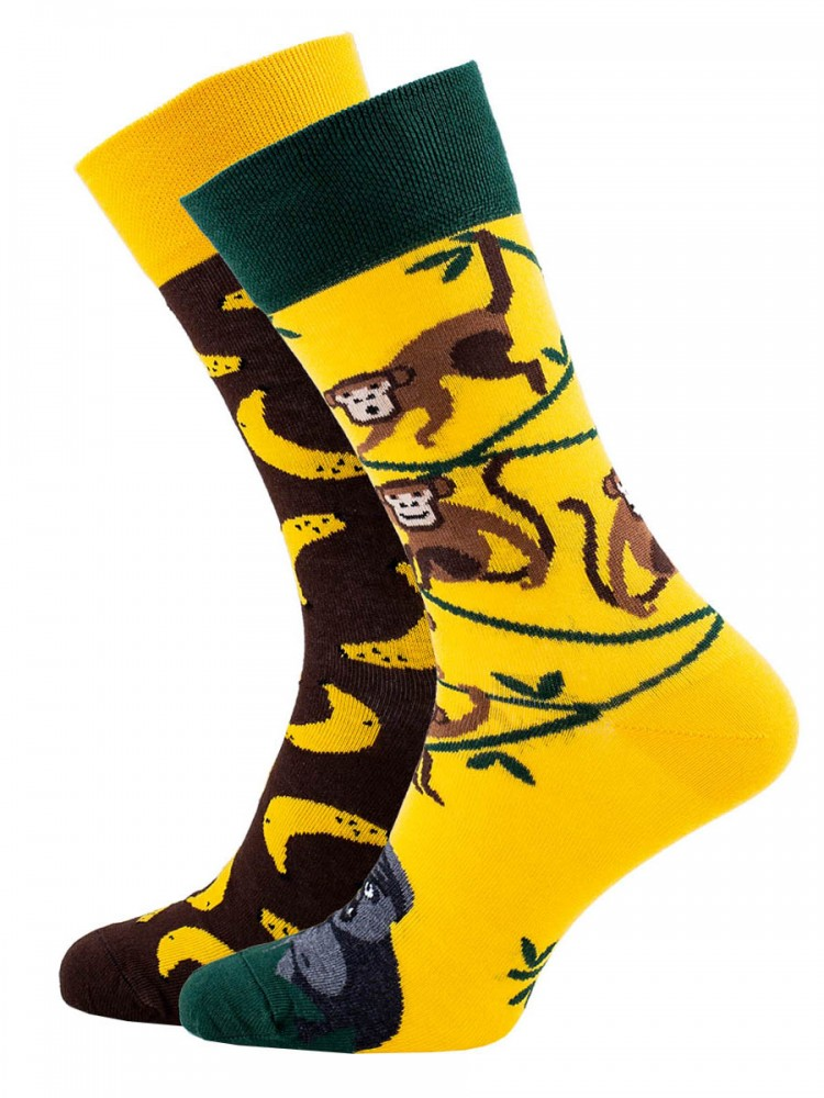 Veselé vzorované ponožky Business Monkey žluto-hnědé vel. 35-38