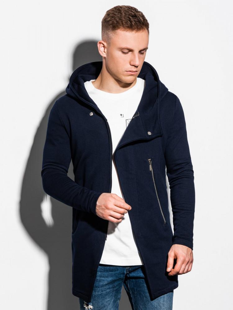 Ombre Clothing Pánská mikina na zip s kapucí Hugo navy