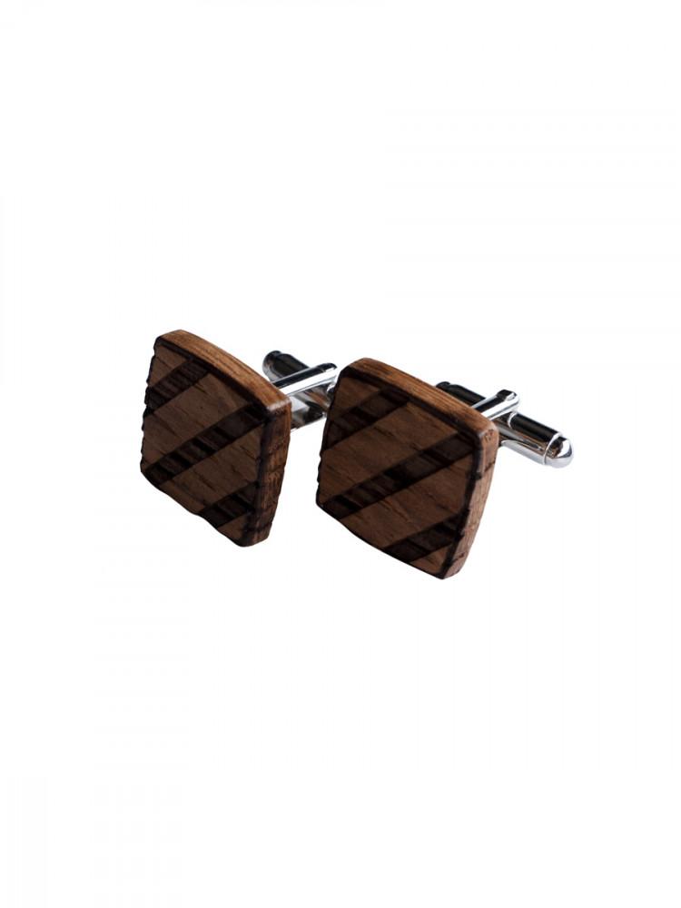 Bornwood Pánské dřevěné manžetové knoflíky Jerome hnědá