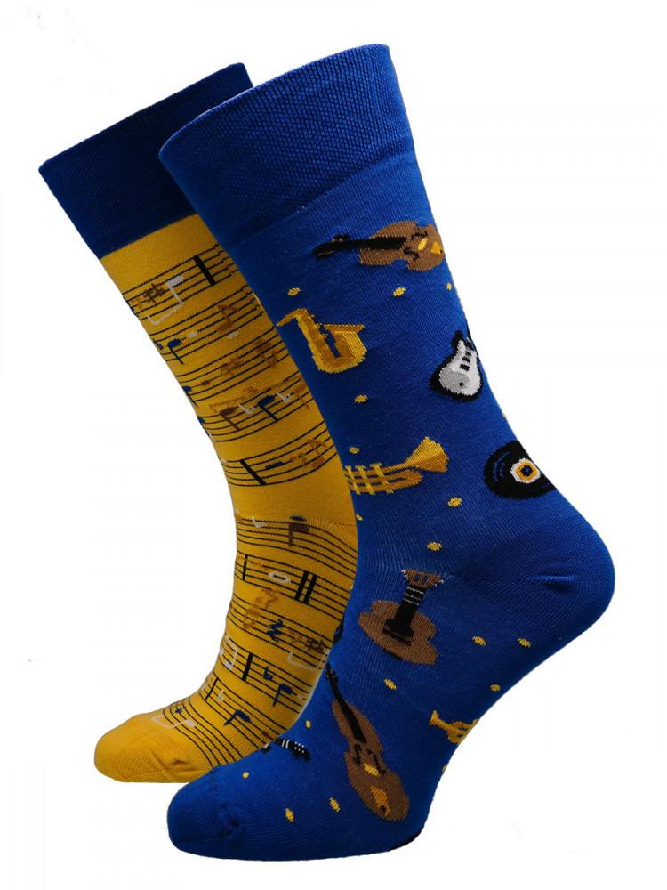 Many Mornings Pánské ponožky Music notes žluté