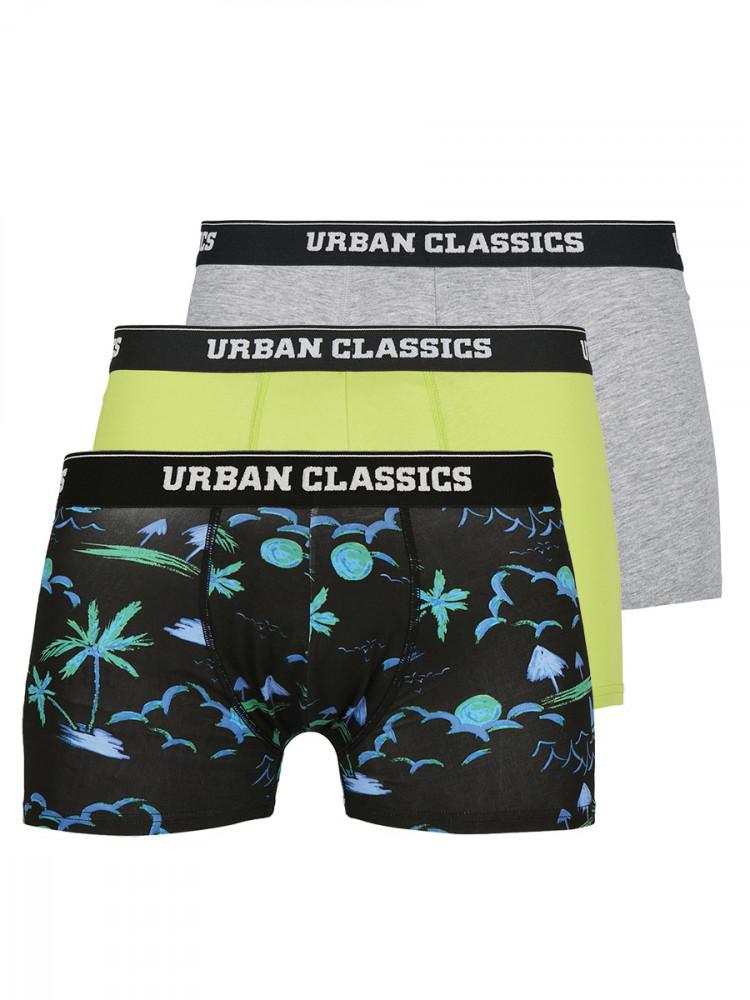 Urban Classics Sada Boxerek Island limetkově zelené/šedé