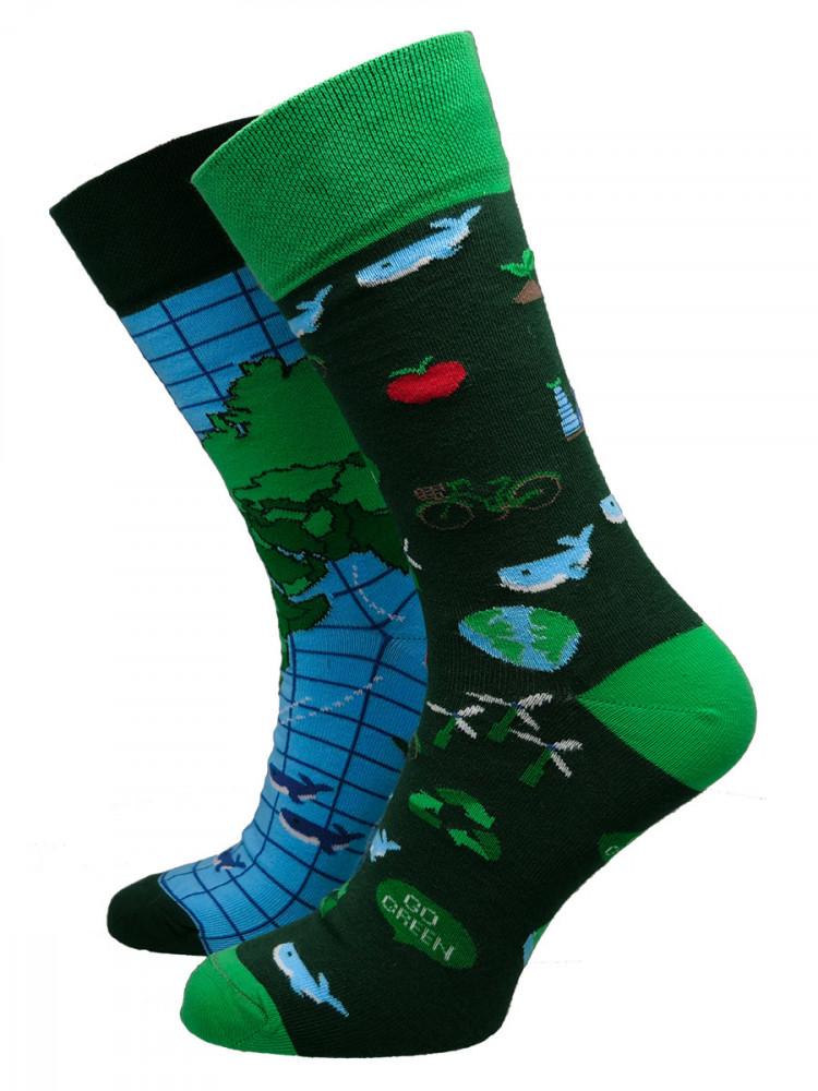 Many Mornings Pánské ponožky Save the planet zelené