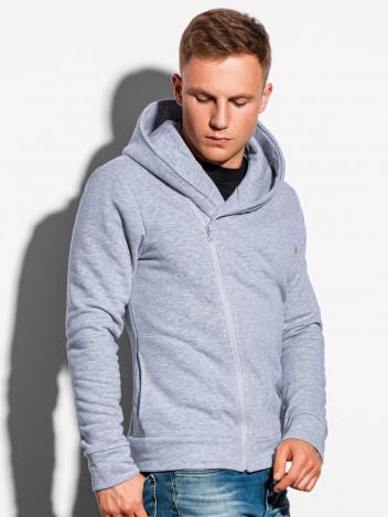 Ombre Clothing Pánská mikina na zip s kapucí Primo šedá