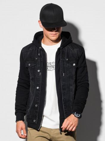 Ombre Clothing Pánská přechodová džínová bunda Brayden černá