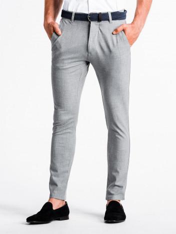 Pánské chinos kalhoty Winston světle šedé