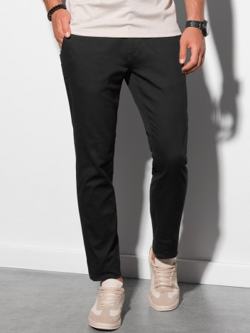 Ombre Clothing Pánské trendy černé chino kalhoty Orlando