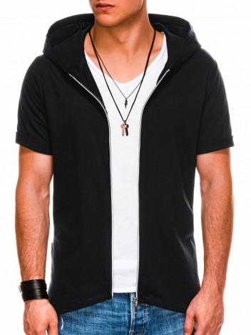 Ombre Clothing Pánská mikina na zip s krátkým rukávem Slater černá