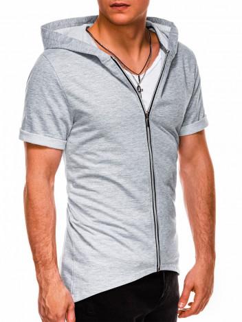 Ombre Clothing Pánská mikina na zip s krátkým rukávem Slater šedá