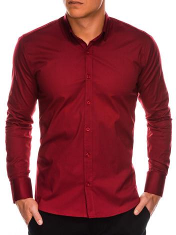 Ombre Clothing Pánská elegantní košile s dlouhým rukávem Supreme bordó
