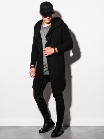 Ombre Clothing Pánská prodloužená mikina s kapucí Accio černá